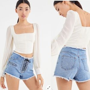 frayed high waisted lace up booty jean shorts sz s